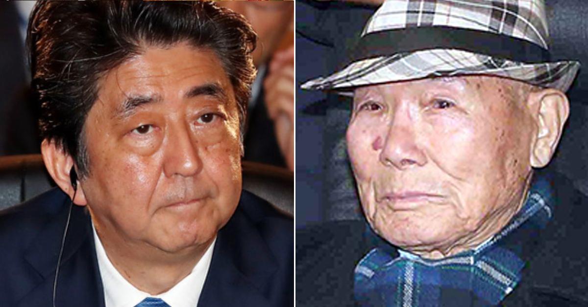 아베 일본 총리(왼쪽)과 강제징용 피해자 이춘식(94)씨 김상선 기자, 청와대사진공동취재단