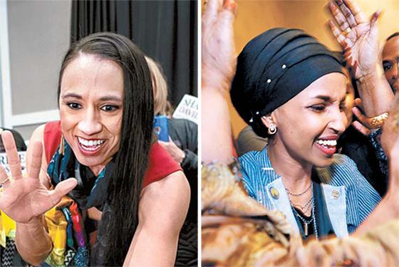 레즈비언이면서 첫 원주민(인디언) 여성 하원의원에 당선된 샤리스 데이비스(민주·캔자스·왼쪽)와 첫 무슬림 여성 하원의원에 선출된 소말리아계 일한 오마르(민주·미네소타) . [EPA·로이터=연합뉴스]