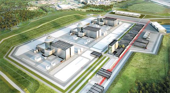 영국 리버풀 북쪽 무어사이드 지역에 3기의 원전을 짓는 무어사이드 프로젝트 조감도. 2009년 아랍에미리트(UAE) 이후 한국의 두 번째 원전 수출이다. [사진 뉴젠]