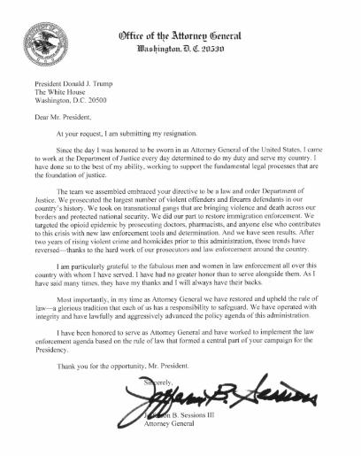제프 세션스 법무장관이 도널드 트럼프 대통령에 보낸 서한 [CNN캡처]