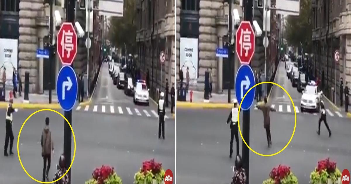 중국에서 한 남성이 시진핑(習近平) 중국 국가주석의 차량 행렬을 막아서는 일이 발생했다. [ACM 월드와이드 유튜브 캡처]