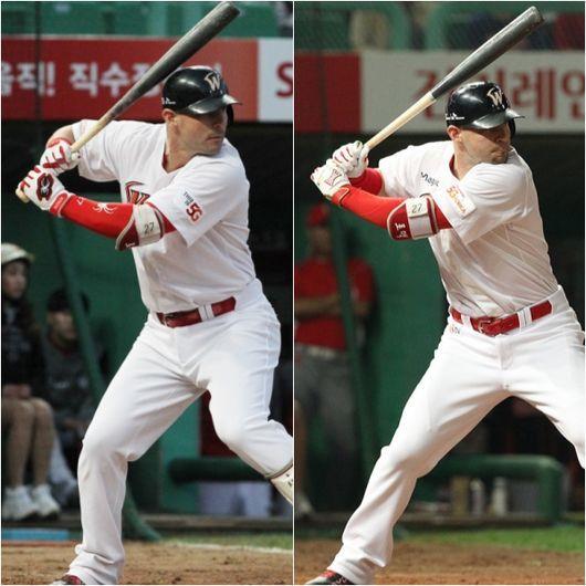 배트를 잡는 위치가 달라진 SK 외국인 타자 제이미 로맥. 왼쪽은 4월 4일 인천 KIA전 타격 당시, 오른쪽은 지난 시즌 모습이다. 배트 끝 노브를 어떻게 잡느냐에 따라 차이가 있다. SK 제공