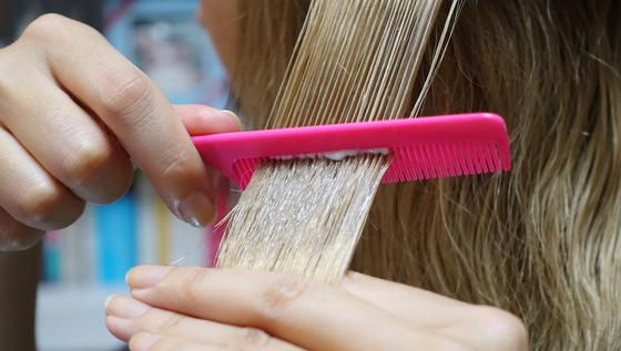 꼬리빗으로 영양크림을 바른 모발을 여러차례 빗어주면 영양성분이 모발 속으로 잘 흡수된다.