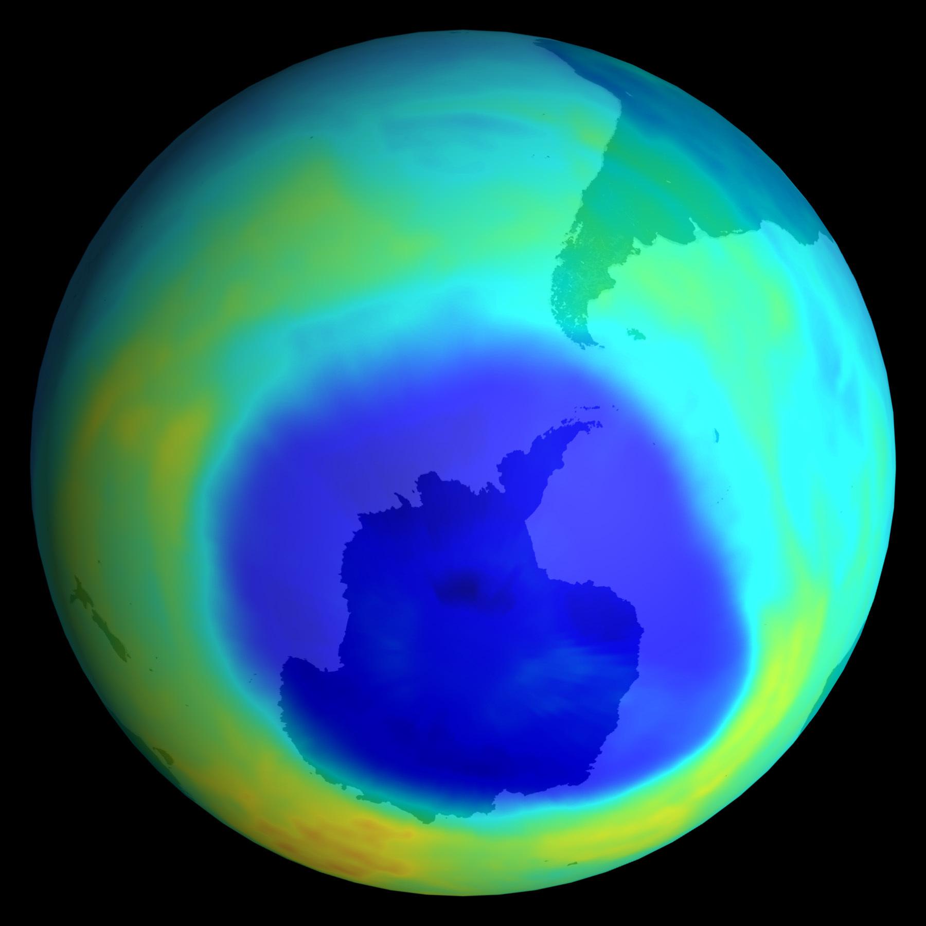 남극 상공 성층권에 나타난 오존 구멍 [중앙포토]