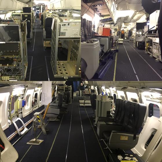 NASA의 DC-8 내부 모습. 대당 3~7억원에 달하는 공기질 측정 장비 26대가 항공기 내부에 빼곡히 들어 차있다. [사진 NASA]