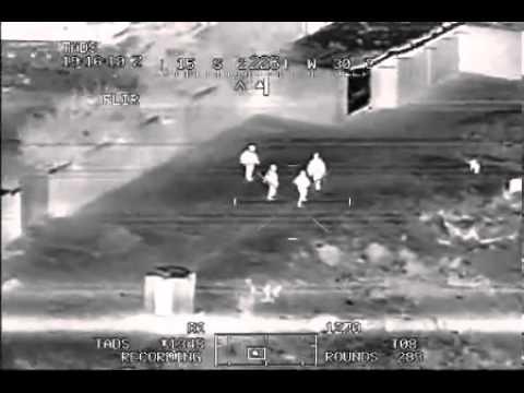한밤중 미 육군의 아파치 헬기가 야시장비로 이라크 무장세력을 발견했다. 신체에서 나오는 열로 포착했다. 이런 장비 앞에서 안면위장은 별 소용이 없다. [유튜브 캡처]