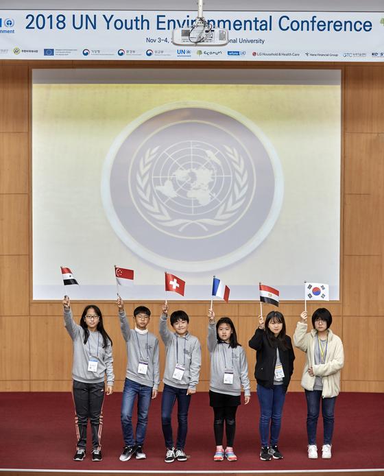 UN청소년환경총회 청소년 대표단이 된 김시은·조현승·신경채·장성연·정다운·윤예림(왼쪽부터) 소중 학생기자.