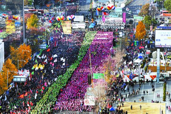 [사진] 민노총·의사협회 집회 … 시위대에 점령된 서울 도심