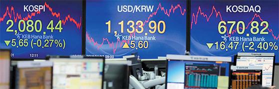 12일 서울 중구 KEB하나은행 딜링룸 전광판에 뜬 주가지수. 이날 코스피는 0.27%, 코스닥 지수는 2.40% 내렸다. 삼성바이오로직스 고의 분식 회계 논란으로 바이오주 낙폭이 컸다. [뉴시스]