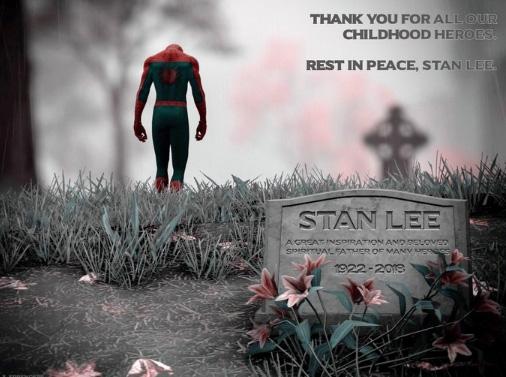 마블의 아버지로 불리는 스탠 리(96)가 별세한 12일(현지시간) 수많은 팬들이 소셜미디어(SNS)에 추모 패러디를 등록했다. 한 인스타그램 사용자가 등록한 이미지속에 스파이더맨이 스탠 리의 무덤을 등진 채 고개를 떨구고 있다. [사진 인스타그램]