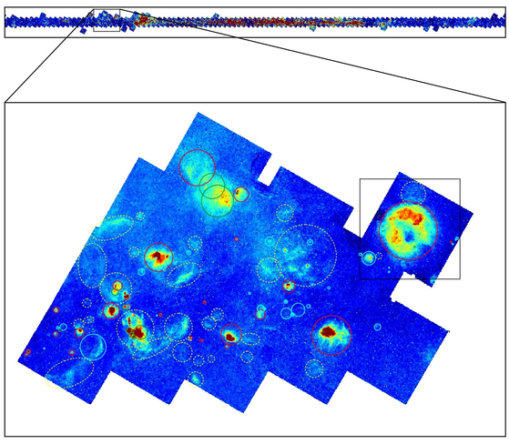 The Galaxy Precision Map uses Paschen Alpha, the first of its kind in the world, to be completed by Korean researchers. The box in the upper right corner shows the kefeus area and the red light indicates that the strength of the alpha is released. [사진 한국천문연구원]