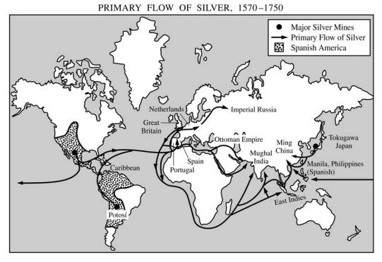 16~17세기 세계 은의 흐름도. 일본의 은은 중국과 동남아 등 세계 무역망으로 연결됐다.