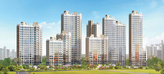 한강과 잠실 더블생활권을 누릴 수 있는 서울 암사동에서 조합원을 모집 중인 지역주택조합 아파트 '암사 대우 이안 한강' 투시도.