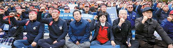 정부·민주노총 대치 속 文 규탄 집회 참석한 박원순