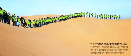 한중 녹색봉사단원들이 8일 중국 쿠부치 사막에서 '인간 녹색 장성'을 만들어보이고 있다. 장세정 기자