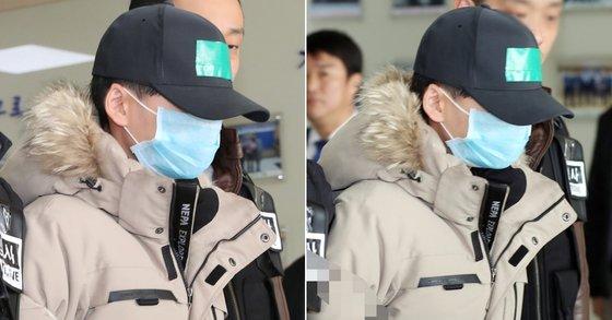 인천 한 아파트에서 중학생이 동급생에게 폭행을 당하고 추락사한 사건 관련, 16일 패딩 옷을 입은 가해자가 영장실질심사를 앞두고 포토라인에 섰다. [뉴스1·연합뉴스]