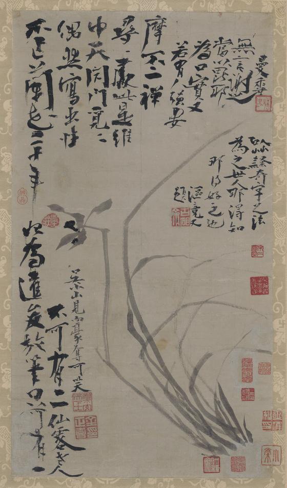 21일 손창근씨가 국립중앙박물관에 기증한 추사 김정희(1786~1856)의 '불이선란도'. 손씨는 이 작품 외에도 총 304점의 소장품을 국립중앙박물관에 기중했다. [사진 국립중앙박물관]