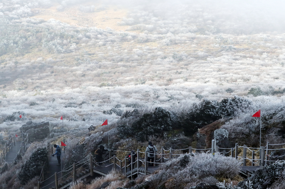 영하의 날씨속에 22일 오전 제주 한라산 영실 코스를 찾은 등반객이 눈 쌓인 탐방로를 오르고 있다. [뉴스1]