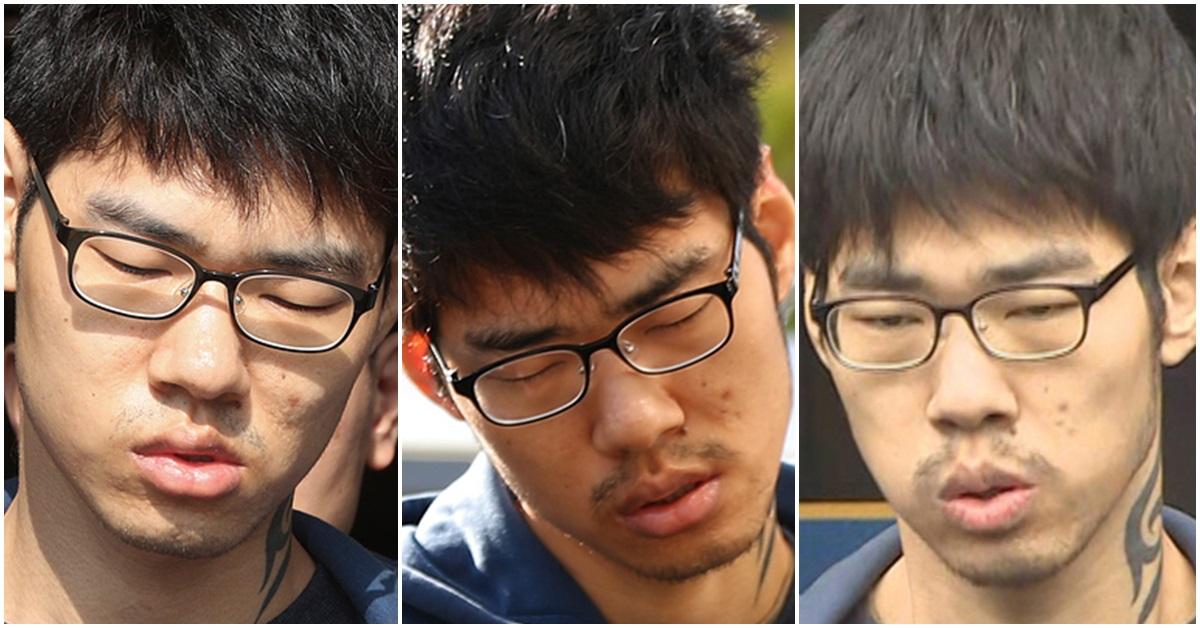 김성수가 언론에 모습을 드러냈을 때 모습. 왼쪽부터 지난달 22일 얼굴이 처음 공개됐을 당시, 20일 경찰에 인계됐을 당시, 21일 검찰로 송치되기 전. [연합뉴스·뉴스1]