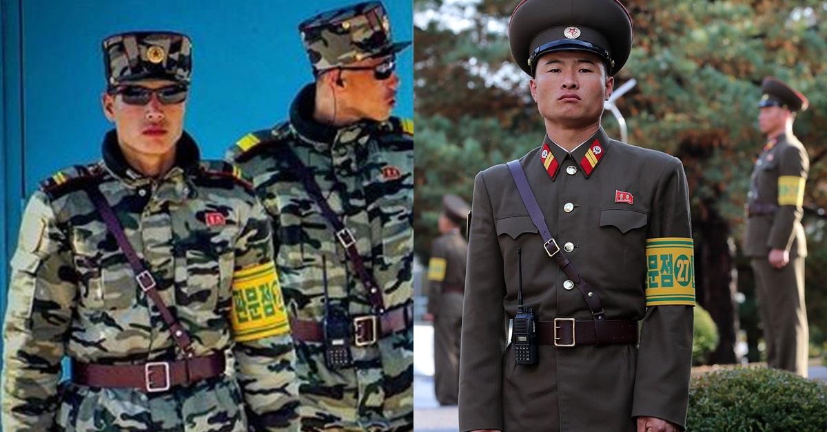 북한 전문 여행사 '고려 투어스'의 리치 빌 매니저가 지난 14일 촬영한 JSA 내 북한군 병사들(왼쪽), 10월 26일 판문점 북측에서 비무장 조치 후 근무 중인 북한군 모습. [뉴스1·사진공동취재단]