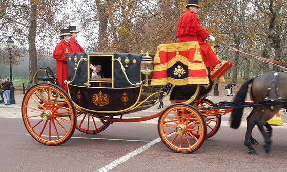 신임장 제정을 위해 박은하 주영 한국대사를 태우고 버킹엄 궁으로 가고 있는 왕실 마차