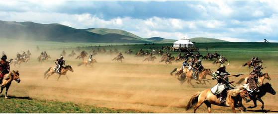 몽골 기마병 부대를 재연한 모습. [중앙포토]