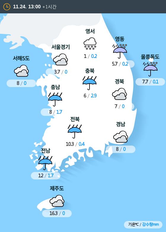 2018년 11월 24일 13시 전국 날씨