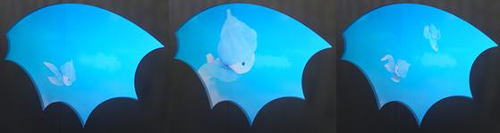 안효림 작가의 바람 캐릭터는 전시장 곳곳에서 만날 수 있다.