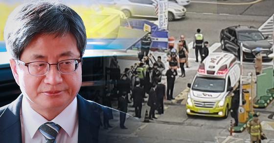 27일 오전 9시8분쯤 서울 서초구 대법원 앞에서 남모(74)씨가 김명수 대법원장 승용차에 화염병을 던졌다. [중앙포토, 연합뉴스]