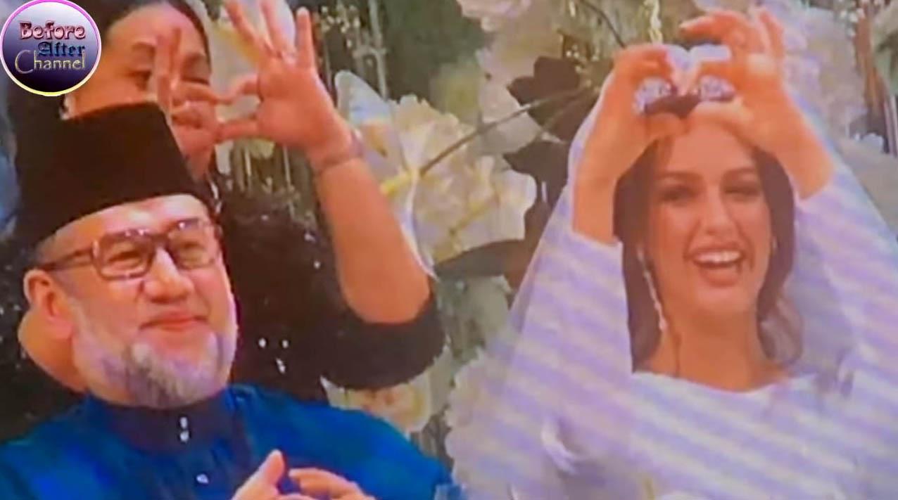 말레이시아의 술탄 무하마드 5세 국왕(왼쪽)이 24살 연하의 2015년 미스 모스크바 출신의 모델 옥사나 보예보디나(25)와 결혼한 것으로 알려졌다. [사진 유튜브 캡쳐]