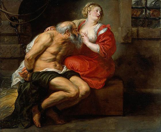 페테르 파울 루벤스의 시몬과 페로(로마인의 자비). 이 그림은 노인과 젊은 여인의 퇴폐적인 행위를 묘사한 것으로 여겨지면서 외설 논란을 불러일으켰으나 역모죄로 몰려 굶겨 죽이는 형벌에 처한 아버지를 만나러 간 딸이 몰래 젖을 먹여 아버지를 연명시켰다는 사연을 가지고 있다. [사진 위키피디아(퍼블릭도메인)]
