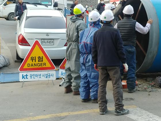 지난 1일, 복구가 한창인 KT 아현지사 현장. 김정연 기자