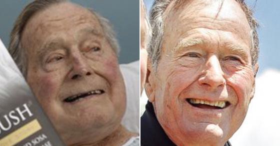 2018년 6월 1일 미국 메인 주의 한 병원에 입원해 있는 조지 H.W 부시 전 대통령의 모습(왼쪽). 오른쪽 사진은 2009년 85세 생일 때 모습 [연합뉴스]