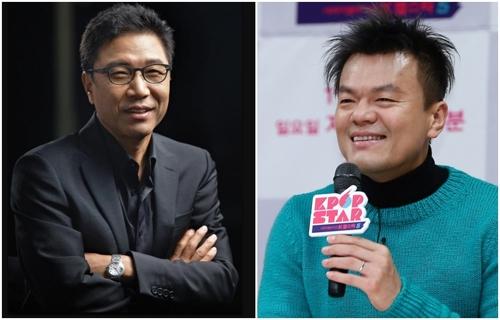 이수만 SM엔터테인먼트 회장(왼쪽)과 박진영 JYP엔터테인먼트 이사. [연합뉴스]