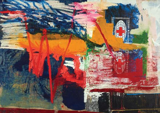 오스카 무리조, pulsating frequecies, 2018, oil, oil stick and graphite on canvas and linen, 210*295. [사진 국제갤러리]