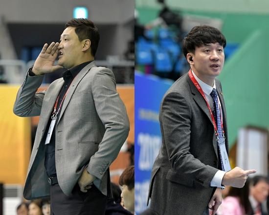 두산 윤경신 감독(왼쪽)과 SK호크스 황보성일 감독. 두 팀은 막강한 전력으로 리그 양강 구도를 구축했다. 대한핸드볼협회