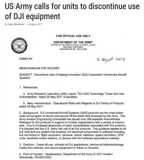 지난해 미국 육군은 보안상 취약점을 이유로 중국 DJI의 드론 사용을 전면 금지하라는 내용의 공문을 하달했다. [사진 신동연]