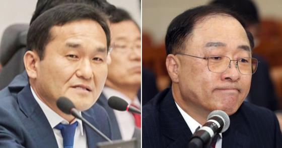엄용수 자유한국당 의원(왼쪽)과 홍남기 부총리 겸 기획재정부 장관 후보자(오른쪽) [엄용수 의원 공식 홈페이지, 연합뉴스]