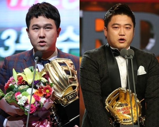 최근 7시즌 동안 3루수 골든글러브를 양분했던 SK 최정(왼쪽)과 NC 박석민. 올 시즌은 하향평준화 속 4명의 선수가 경쟁한다. 연합뉴스