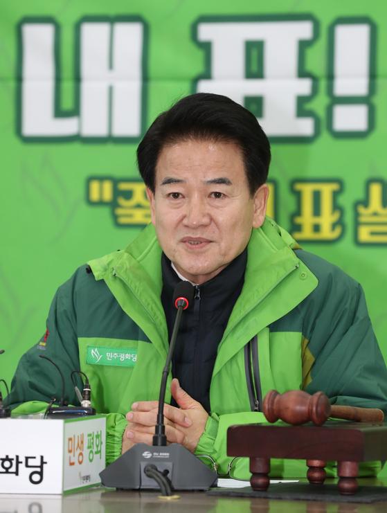 민주평화당 정동영 대표가 6일 오전 국회에서 열린 정책의총에서 발언하고 있다. [연합뉴스]