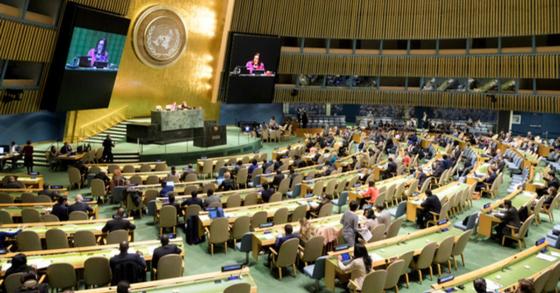 5일(현지시간) 유엔 총회에서 북한 비핵화와 미사일 도발 중단 등을 촉구하는 결의 3건이 채택됐다. [AP=연합뉴스]