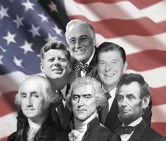 역대 미국 대통령. 앞줄 왼쪽부터 시계방향으로 1대 조지 워싱턴, 35대 존 케네디, 32대 프랭클린 루스벨트 , 40대 로널드 레이건, 16대 에이브러햄 링컨, 3대 토머스 제퍼슨 전 대통령. [중앙포토]