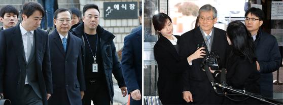 사법행정권 남용 혐의를 받고 있는 박병대(왼쪽), 고영한 전 대법관이 6일 오전 서울 서초구 중앙지방법원에서 열린 영장실질심사(구속 전 피해자심문)에 출석하고 있다. [뉴스1]