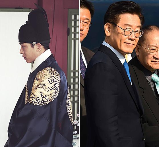 영화 '사도'에서 사도세자로 연기한 배우 유아인(왼쪽)과 '혜경궁 김씨' 논란으로 여당에서 탈당을 요구받은 이재명 경기지사.