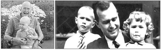 왼쪽 사진은 2013년 7월 삭발한 부시가 백혈병 치료 중인 경호원 아들 패트릭을 무릎에 안고 있는 모습이다. 오른쪽은 부시(가운데)가 장녀 로빈(오른쪽)을 무릎에 안은고 있는 장면이다. 부시는 만 4살 때 백혈병으로 세상을 떠난 로빈을 평생 그리워했다. 부시 뒷쪽에 장남인 조지 W 부시가 서있다. [사진 트위터]