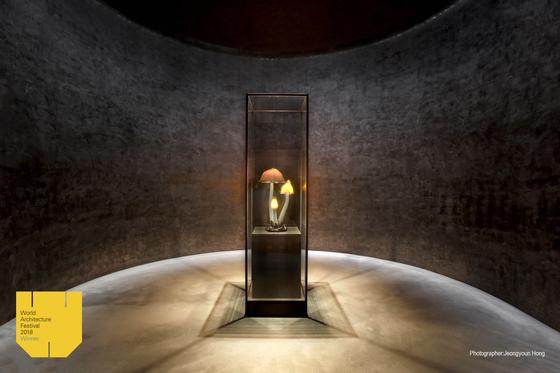 휘닉스 제주 섭지코지에 자리한 유민미술관. 건축물은 안도 다다오가 설계했고, 전시 설계는 덴마크 JAC 스튜디오가 맡았다. 사진은 에밀 갈레의 '버섯램프'가 전시된 '명작의 방'. [사진 JAC 스튜디오]