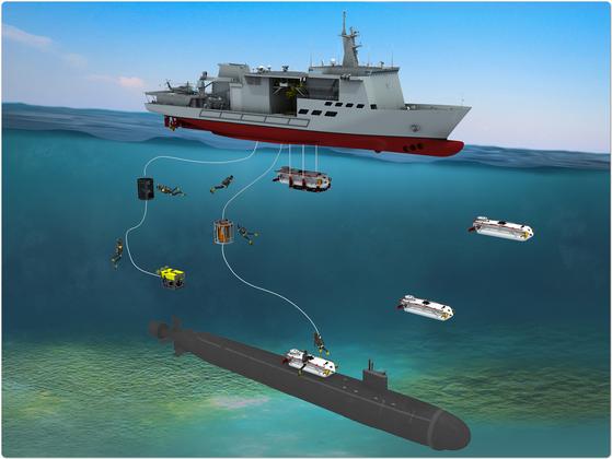 잠수함 구조함은 해저에 잠수사와 무인탐사기(ROV) 등을 투입해 침몰한 잠수함 내 승무원을 구조하는 임무를 수행한다. 대우조선은 7일 해군으로부터 이 구조함 한 척에 대한 건조 일감을 수주했다고 밝혔다. [사진 대우조선해양]