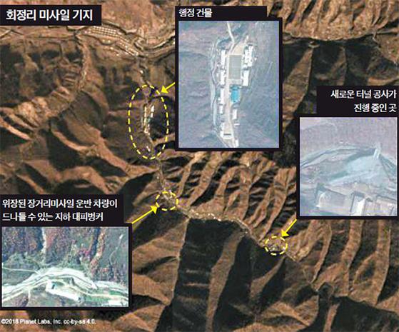 5일 미국 미들버리 국제학연구소가 북한의 새로운 대륙간 탄도미사일(ICBM) 기지로 추정되는 회정 리(Hoejung-ri) 기지가 포착된 인공위성 사진을 공개했다. 기존의 양강도 영저리 기지로부터 11㎞ 떨어진 이곳에 요새화된 지하 벙커와 터널 등 지하시설이 세워지고 있다. [CNN 캡처]