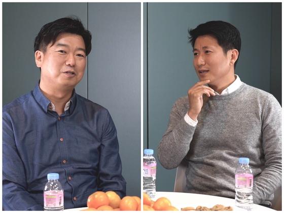 지난달 22일 전업주부 김진성씨(왼쪽)와 노승후씨가 인터뷰 질문에 답하고 있다. 윤정애 인턴기자