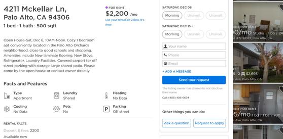 미국 서부 팰러앨토 지역에 있는 한 아파트의 웹사이트. 한 달 월세 2200달러이고, 보증금(deposit) 역시 한달치 월세와 같은 2200달러라고 써있다. [화면 캡처]